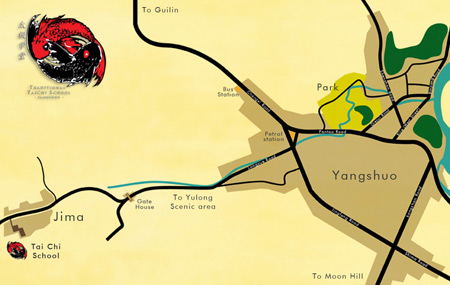 Yangshuo Tai Chi School map